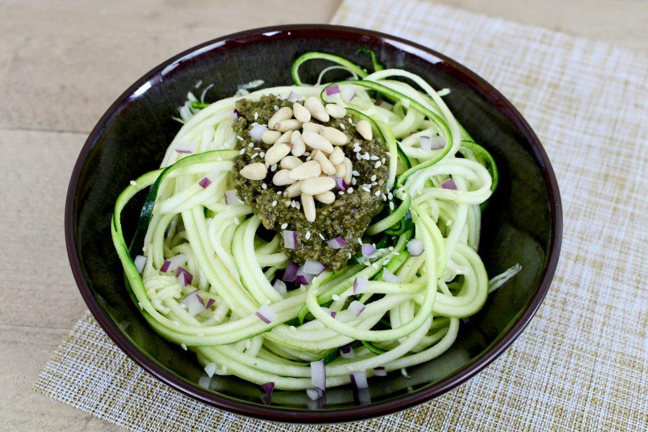 raw courgette pesto salade