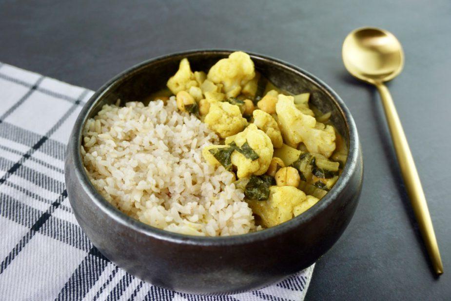 Snelle groene curry vegan