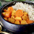 Vegan stoofpot met soja brokken