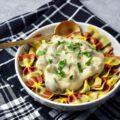 Een zwart geblokte theedoek. Daarom op een wit rond bord met drie kleuren pasta strikken met daar overheen een romige alfredo saus met chapginons en peterselie.